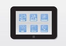 E-leert, tablet met schoolonderwerpen; pictogrammen Stock Fotografie