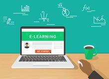 E-lerend conceptenillustratie die van menselijke hand gebruikend laptop werken Royalty-vrije Stock Afbeeldingen