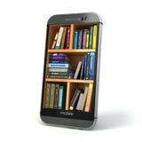 E-lerend onderwijs of Internet-bibliotheekconcept Smartphone en Royalty-vrije Stock Foto's