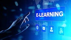 E-lerend, Online onderwijs, Internet-het bestuderen Zaken, technologie en persoonlijk ontwikkelingsconcept op het virtuele scherm vector illustratie