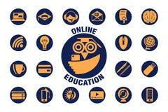 E-lerend pictogramreeks en embleem Geïsoleerde online onderwijspictogrammen royalty-vrije illustratie
