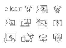 E-lerende lijnpictogrammen Stock Afbeeldingen