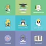 E-lerende vlakke geplaatste pictogrammen Stock Afbeeldingen