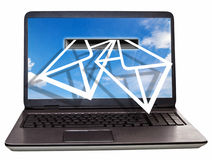E- Letter. Abstract photo of a laptop with letter shapes stock illustration