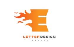 E Letter Flame Logo Design. Fire Logo Lettering Concept. E Letter Flame Logo Design. Fire Logo Lettering Concept Vector Royalty Free Stock Photos