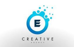 E Letter Logo. Blue Dots Bubble Design Vector Stock Images