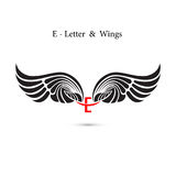 E-letter sign and angel wings.Monogram wing logo mockup.Classic Royalty Free Stock Images