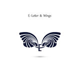 E-letter sign and angel wings.Monogram wing vector logo template Stock Photography