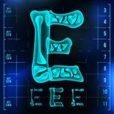 E Letter Vector. Capital Digit. Roentgen X-ray Font Light Sign. Medical Radiology Neon Scan Effect. Alphabet. 3D Blue. Light Digit With Bone. Medical, Pirate Stock Photos