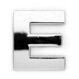 E - Lettera del metallo Fotografie Stock