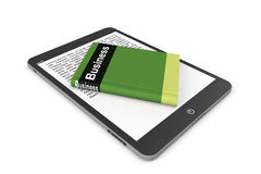 E-library concept. Tablet PC with book Stock Images