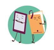 E-libro e libro di carta Caratteri divertenti Fotografia Stock