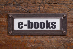 E-libros - etiqueta del gabinete de fichero Fotos de archivo libres de regalías