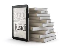 E-libros - ordenador de la tableta y pila de libros libre illustration