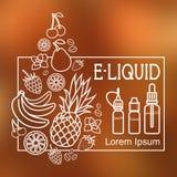 E-Liquid illustration of different flavor. Liquid to vape Royalty Free Stock Photos