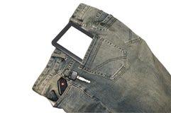 E-Livro e chaves no bolso Fotografia de Stock