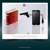E-livros e livros impressos matança dos telefones celulares Fotografia de Stock Royalty Free