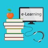 E-lära med datorbildskärmen Arkivbild