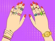 E Mãos das mulheres na joia, nos anéis, na joia, nos relógios e na joia da forma imitation ilustração royalty free