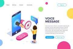 E Mégaphone à disposition Une femme écoute un message de voix au téléphone Bouton d'email canette illustration stock
