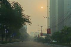 e M Обход в утре зимы, Kolkata, западной Бенгалии, Индии стоковые изображения rf