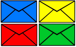 E-mail. Icon in four different colors isolated on white background. Colors are red, green, yellow and blue stock illustration
