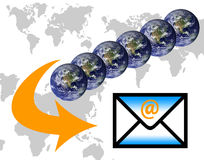 E-mail. Global communications through the use of e-mail Royalty Free Stock Photos