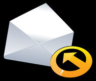E-mail. Symbol  mail. Vector in three-dimensional envelope, round yellow horizontal arrow Royalty Free Stock Photos