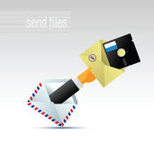 E-mail. Man in suit holding a letter with the files Stock Photo