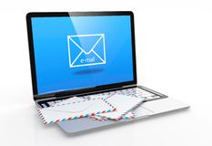 E-mail. 3D illustration of modern laptop with e-mail symbol on screen and letter on keyboard Royalty Free Stock Photo