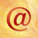 E-mail. Symbol in red with yellow and orange background stock illustration