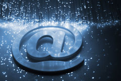 E-mail. Fiber optics background with lots of light spots Stock Photography