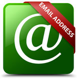 E-Mail-Adresse grüner quadratischer Knopf Lizenzfreie Stockbilder