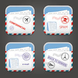 E-mail Apps Icons. Set of e-mail apps icons. Vector illustration Stock Images