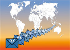 E-mail around the world Royalty Free Stock Photography