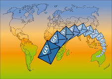 E-mail around the world. World map and email symbols, vector Stock Photos