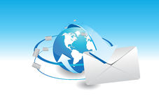 E-mail and the blue arrow shown the world. World and surrounded by a ring blue arrow Showing illustrations electronic mail Royalty Free Stock Photography