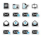 E-mail brievenbuspictogrammen geplaatst zoals etiketten Stock Afbeelding