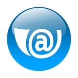 E-mail button. Blue 3d button with e-mail horn inside Stock Photos
