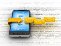 E-mail on cell phone. Mobile technology Stock Photos