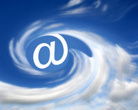 E-mail in clouds royalty free stock photography