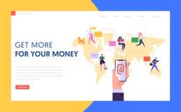 E-mail Communicatie Conceptenlandingspagina wereldwijd vector illustratie