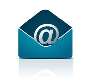 E-mail concept. Blue envelope with @ at symbol Royalty Free Stock Images