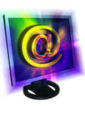 E-mail concept. Computer monitor with e-mail symbol inside it vector illustration