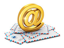 E-mail concept. Creative e-mail and communication correspondence business office paperwork concept: metal golden shiny AT symbol on stack or heap of post mail Royalty Free Stock Image