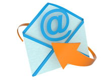 E-mail concept with envelope and arrow Stock Photos