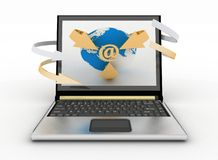 E-Mail Concept with Globe and Arrows on the screen of laptop Stock Photo