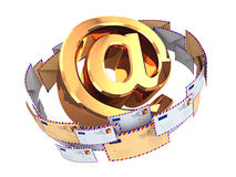 E-mail concept. Gold At symbol and envelopes isolated on white b. Ackground. 3d Stock Images