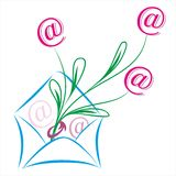 E-mail concept image. With at sign flowers Royalty Free Stock Photography