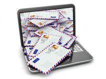 E-mail concept. Laptop and letters Stock Photography